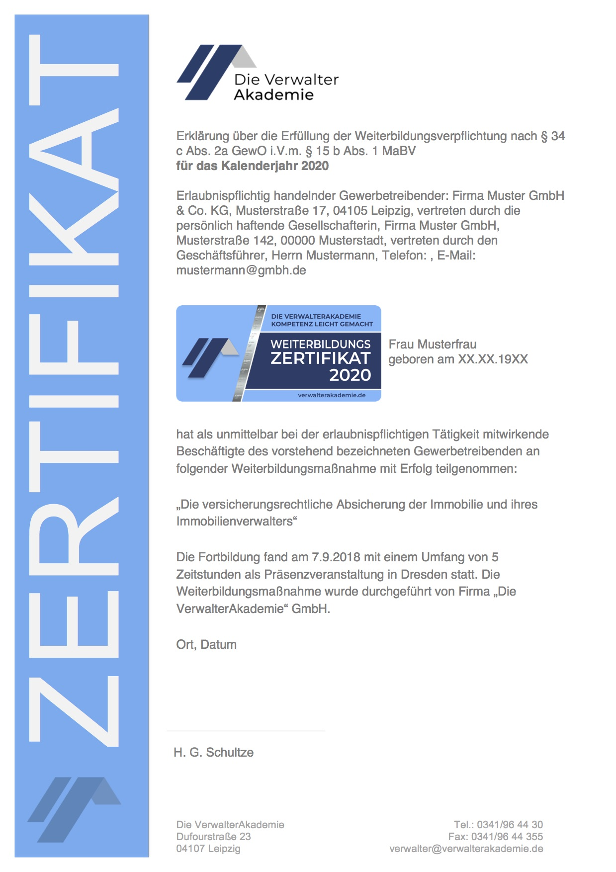 VerwalterAkademie Zertifikat 2020